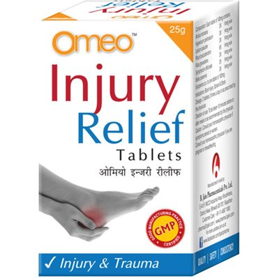 BJain Omeo Injury Relief Tablets for trauma, contains Arnica montana, Hypericum perforatum, Ledum palustre, Rhus toxicodendron