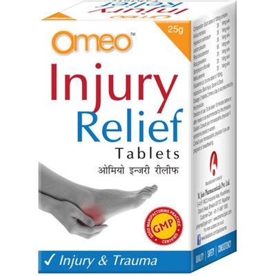 BJain Omeo Injury Relief Tablets for trauma, contains Arnica montana, Hypericum perforatum, Ledum palustre, Rhus toxicodendron