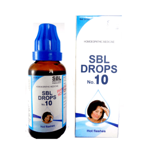 SBL drops No.10, Homeopathy Medicine for Hot Flashes, anxiety, palpitation, perspiration