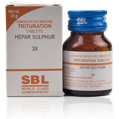 Hepar Sulphur 3X Tablet helps in eruptions and glandular swellings.