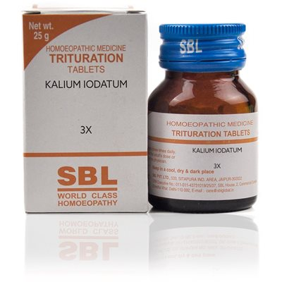 Kalium Iodatum 3X Tablet This remedy relieves runny nose with acrid watery discharge, with pain at the base of the nose.