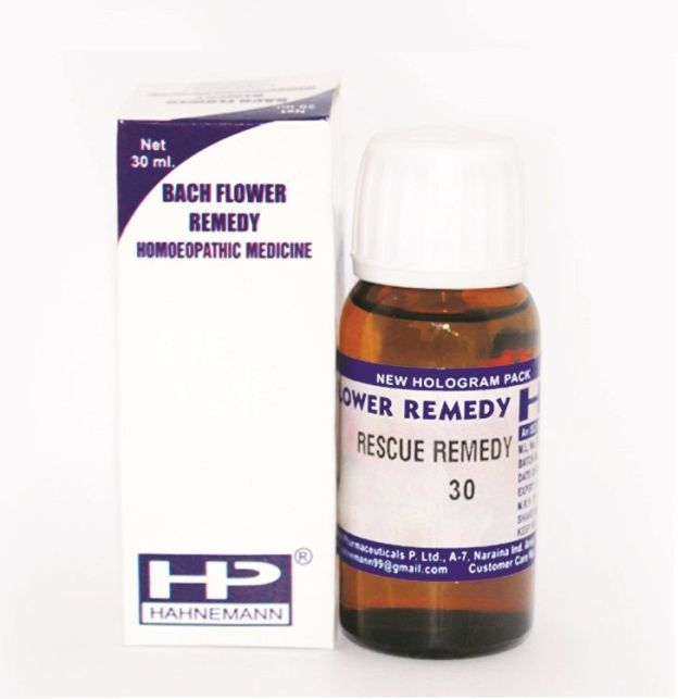 Bach Flower Remedy Rescue Remedy cherry plum, clematis, impatiens, rock rose, star of bethlehem