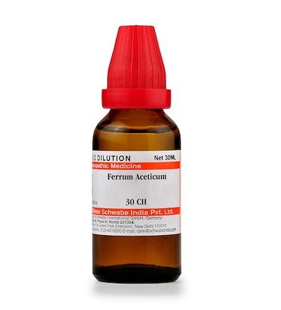 Schwabe Ferrum Aceticum Homeopathy Dilution 6C, 30C, 200C, 1M, 10M, CM