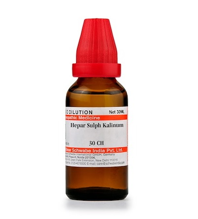 Schwabe Hepar Sulphuris Kalinum Homeopathy Dilution 6C, 30C, 200C, 1M, 10M