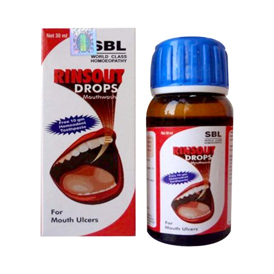 New SBL Rinsout Drops Homeopathy Mouthwash for Mouth Ulcers