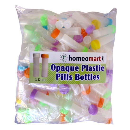 Homeopathy Plastic Pills Empty Bottles Opaque Super, 1 Dram