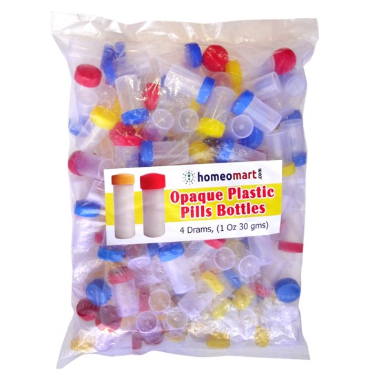 Homeopathy Plastic Pills Empty Bottles Opaque Super, 4 Dram