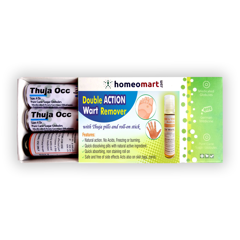 Double Action Wart Remover kit with active Thuja Pills, Roll-on