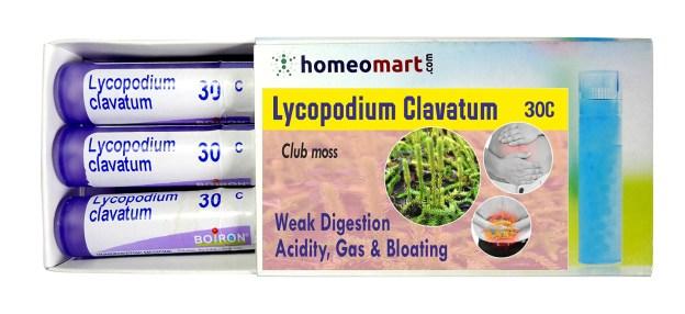Homeopathy medicine Lycopodium Clavatum for Weak Digestion, Acidity, Gas & Bloating