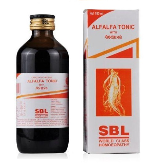 SBL Alfalfa Tonic with Ginseng (Ashwagandha). Weight Gain medicine. Complete Health Tonic