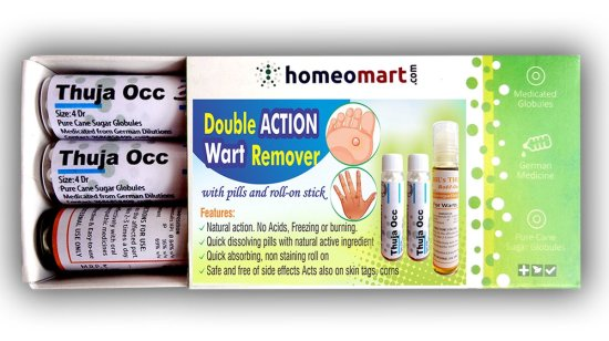 Double Action Wart Remover Mini Kit with Thuja Pills Roll-on