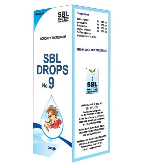 SBL Drops No 9 for Cough, Breathlessness, heaviness, dry cough