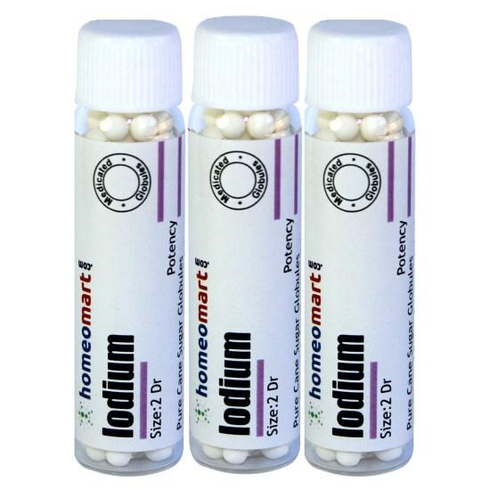 Homeopathy Iodium 2 Dram Globules 6C, 30C, 200C, 1M, 10M