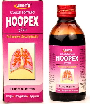 Allens Hoopex Syrup - Antitussive, decongestant for cough, congestion, dyspnoea