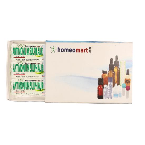 Antimonium Sulphuratum Aureum Homeopathy 2 Dram Pellets 6C, 30C, 200C, 1M, 10M