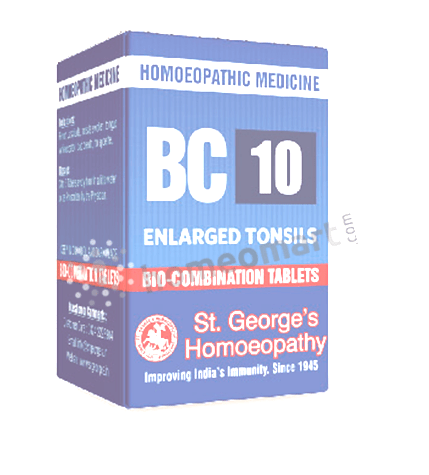 St. George's Biocombination 10 (BC10) tablets for enlarged tonsils