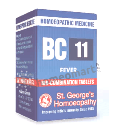 St. George's Biocombination 11 (BC11) tablets for fever, pyrexia