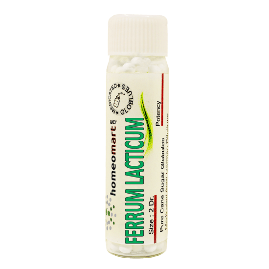 Ferrum Lacticum Homeopathy 2 Dram Pellets 6C, 30C, 200C, 1M, 10M