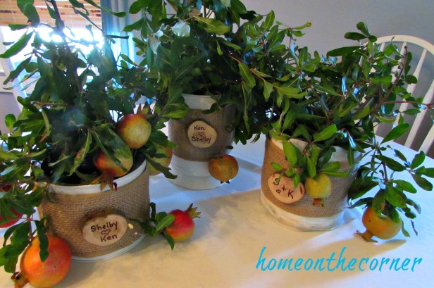 coffee can makeover bridal shower centerpieces burlap and pommegranites