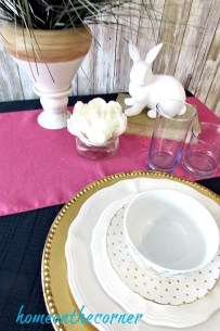 tablescapes 2017 gold, and pink with bunny and flower
