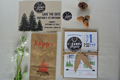 summer camp logo trees s'mores birthday party invitation