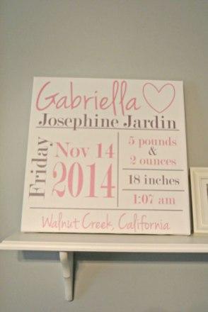 baby nursery canvas gallery birth stats pink gray