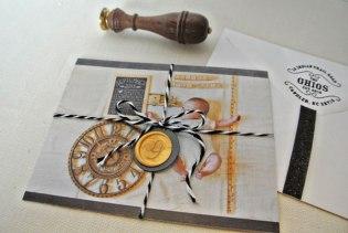 birth announcement chalk photo monogram wax stamp seal black white twine