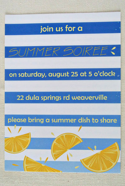 summer citrus party lemons blue ombre stripes