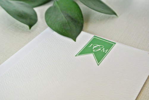 kelly green flag personalized monogram stationery card