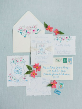 Photography by Rachel May Photography Watercolor by Gina Langford Calligraphy by Jodi Macfarlane Calligraphy