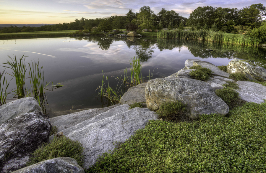 pond with boulders