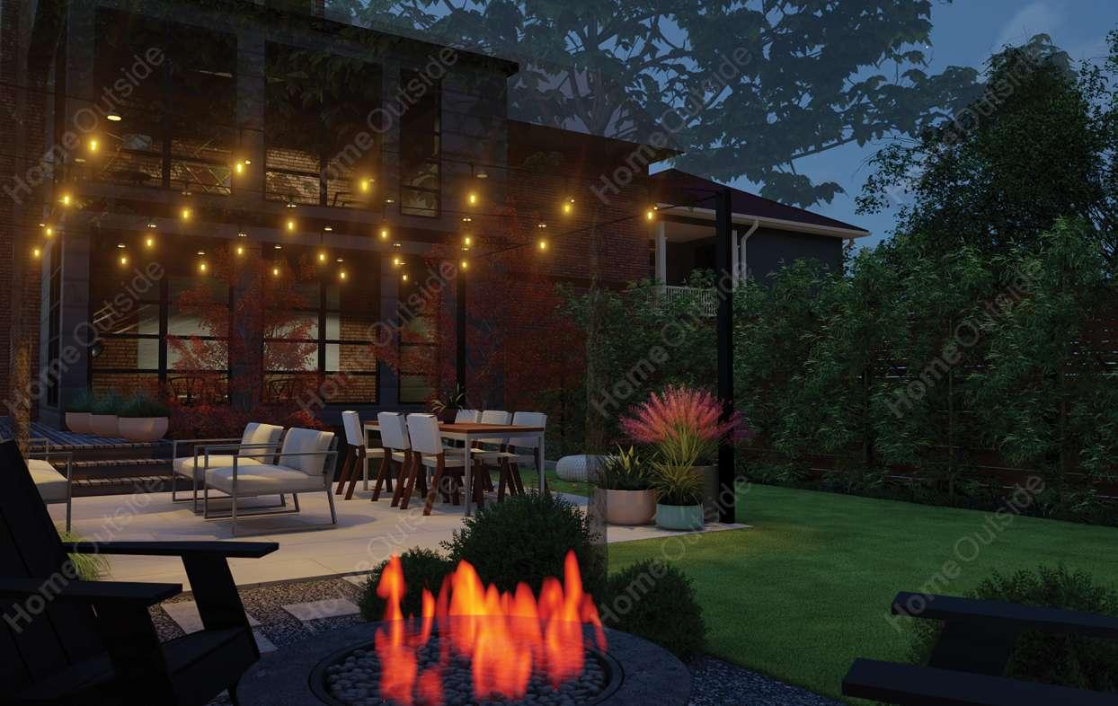 home-outside-landscape-design-washington-dc-3d-view-evening-outdoor-lighting