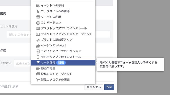 Facebook「リード獲得広告」
