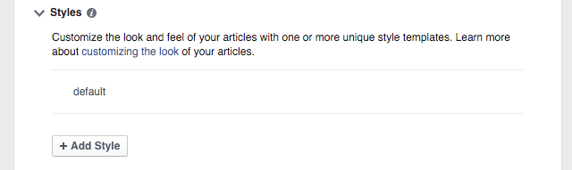 Instant Articlesのスタイル設定