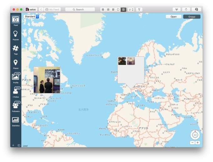 Photodeskでインスタグラムの投稿を地図上で見る