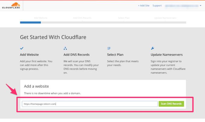 CloudflareにWebサイトを登録する