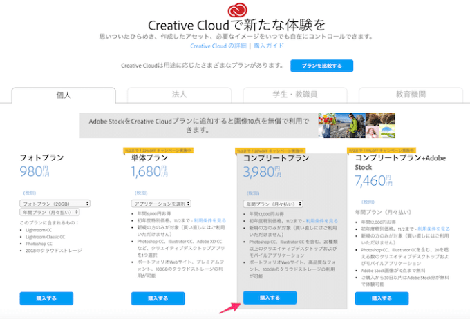 Adobe Creative Cloudのプランを購入