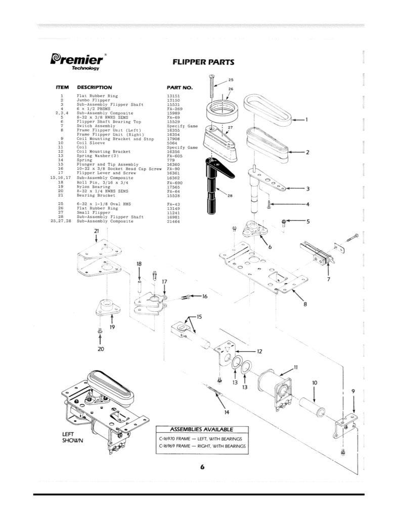 Gottlieb-Flipper-Premier Parts Catalogue