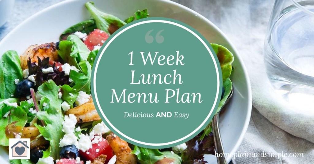 1 Week Lunch Menu Plan