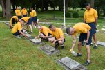160816-N-OO032-077 BREMERTON, Wash. (Aug. 16, 2016) – Pacific Northwest chief petty officer selects clean head stones during a community relations event at Ivy Green Cemetery as part of the USS Turner Joy (DD 951) Legacy Academy. The academy entails living aboard the Vietnam-era destroyer while participating in community relation projects, ship preservation, leadership training, and a naval heritage capstone project. The Turner Joy is one of four naval memorial in the U.S. to host legacy academies, the other three being the Iowa-class battleship USS Missouri (BB 63), USS Midway (CVB/CVA/CV 41) and USS Constitution, a wooden hulled, three-masted heavy frigate and oldest commissioned warship in the world. (U.S. Navy photo by Mass Communication Specialist 1st Class Cory Asato/Released)