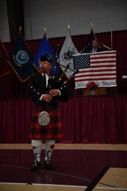 SILVERDALE, Wash. (Nov. 11, 2016) Mr. Michael Oliver plays the bagpipes at the prelude of the 2016 Veterans Day ceremony held at the Kitsap Sun Pavilion. The ceremony paid respect to service members both past and present and remembered those service members lost during the history of the United States. (U.S. Navy photo by Petty Officer 3rd Class Charles D. Gaddis IV/Released)