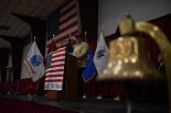 SILVERDALE, Wash. (Nov. 11, 2016) Retired Cmdr. Jack James, a U.S. Navy Seal, delivers a speech during the 2016 Veterans Day ceremony held in the Kitsap Sun Pavilion. The ceremony paid respect to service members both past and present and remembered those service members lost during the history of the United States. (U.S. Navy photo by Petty Officer 3rd Class Charles D. Gaddis IV/Released)