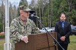 GARDINER, Wash. (Nov. 11, 2016) Capt. Chris Kurgan, a native of Illinois and Naval Facilities Engineering Command Northwest commanding officer, speaks during a Veterans Day ceremony hosted by Naval Facilities Engineering Command Northwest at Gardiner Cemetery. The ceremony paid tribute to the only Seabee Medal of Honor recipient and Vietnam veteran, Construction Mechanic 3rd Class Marvin Glenn Shields, who was posthumously awarded the nation's highest military award for his actions taken and giving his life to save comrades while under enemy attack. (U.S. Navy photo by Petty Officer 1st Class Cory Asato/Released)