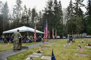 GARDINER, Wash. (Nov. 11, 2016) Rear Adm. Troy McClelland, a native of Yakima, Washington, and Expeditionary Combat Command deputy commander, speaks during a Veterans Day ceremony hosted by Naval Facilities Engineering Command Northwest at Gardiner Cemetery. The ceremony paid tribute to the only Seabee Medal of Honor recipient and Vietnam veteran, Construction Mechanic 3rd Class Marvin Glenn Shields, who was posthumously awarded the nation's highest military award for his actions taken and giving his life to save comrades while under enemy attack. (U.S. Navy photo by Petty Officer 1st Class Cory Asato/Released)