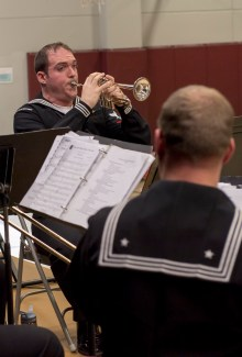161214-N-ZP059-046 SILVERDALE Wash., (Dec. 14, 2016) Petty Officer 3rd Class Daniel Arute, a member of Navy Band Northwest's Brass Quintet, plays his trumpet during a holiday concert at Central Kitsap Middle School. This was the first time that the Brass Quintet has played at Central Kitsap Middle School. (U.S. Navy photo by Petty Officer 2nd Class Jacob G. Sisco/Released)