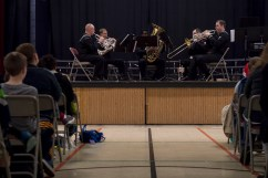 161214-N-ZP059-055 SILVERDALE Wash., (Dec. 14, 2016) Navy Band Northwest's Brass Quintet performs a holiday concert at Central Kitsap Middle School for parents, students and staff. This was the first time that the Brass Quintet has played at Central Kitsap Middle School. (U.S. Navy photo by Petty Officer 2nd Class Jacob G. Sisco/Released)