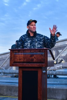 170127-N-SH284-220 BREMERTON, Wash. (Jan. 27, 2017) Cmdr. Benjamin J. Selph, commanding officer, USS Olympia (SSN 717) addresses the audience after their arrival at Naval Base Kitsap-Bremerton, visiting the Pacific Northwest for the first time since 1998. During their stay, crew members will tour their namesake, Olympia, Washington, where they will help the community through conducting COMRELs, and take a tour the capitol and the Olympia Yacht club. (U.S. Navy photo by Mass Communication Specialist 2nd Class Vaughan Dill/Released)