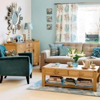 brown and blue living room - white and light blue colors ...