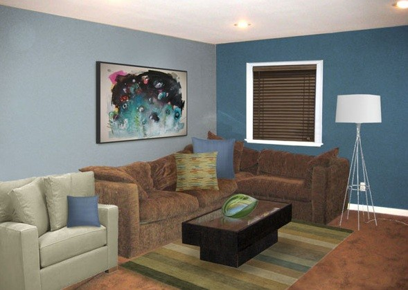 Miscellaneous : Brown And Blue Living Room