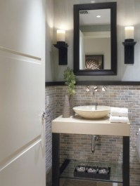 Half Bathroom Designs - brick tiles | Home Interiors